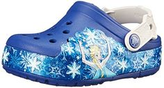 Gift your little darling the crocs CrocsLights Frozen Clog. The Clog has prints of Elsa amidst snowflakes that run from across the base. The perforated design on the top allows maximum airflow. This Clog has a heel strap with intricate detailing for an appealing look.  http://shoes.bestselleroutlet.net/product-review-for-crocs-girls-crocslights-frozen-clog/