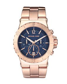 Michael Kors Chronograph Watch, Rose Gold/Navy