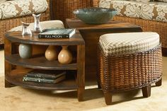 In an innovative use of space, the Clarissa coffee table makes a stylish and practical centerpiece for a matching rattan furniture arrangement! :)
