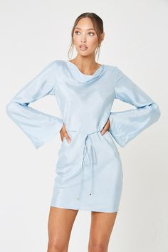 MEZZO BACKLESS DRESS BLUE – W I N O N A Blue Satin Dress, Satin Dresses, Necklines For Dresses, Ball Dresses, Dress Codes, Cowl Neck, Sleeved Dress, Slim, Long Sleeve