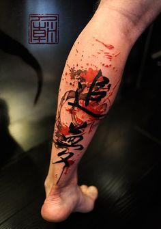 Felix. Splattered leg tattoo - 50 Incredible Leg Tattoos  <3 !