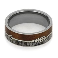 Silver Arrow Ring with Deer Antler and Ironwood Burl in Titanium.