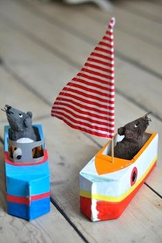milk carton boats ~ a really great homemade toy for the kids