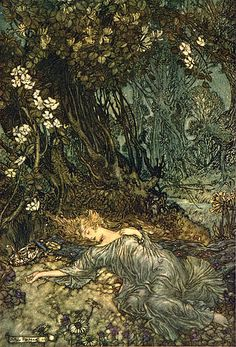 ".::: Illustration by Arthur Rackham :::. Scene from ""Midsummer Night's Dream"". Picture: ""Titania Sleeping"" 1908."