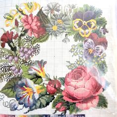 Elizabeth Bradley The Victorian Flower Series Summer Needlepoint Kit Stamped Canvas with Wool and Pattern
