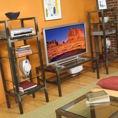 Steel & Glass Home Theater Display Shelving & Table by Boltz | TV Carts and Stands | Boltz Steel Furniture | www.boltz.com