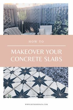 How to makeover your concrete/flag stone paving slabs for under All you need is some sunshine, paint, a PVA bond and a stencil. Concrete Flags, Concrete Paving Slabs, Stencil Concrete, Patio Slabs, Painting Concrete, Patio Stone, Painted Concrete Patios, Concrete Yard, Concrete Patio Designs