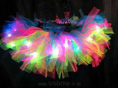 Girls Neon Tutu Light Up Tutu Dance Wear Birthday by tutufactory Rainbow Tutu, Rainbow Brite, Skate Party, Neon Party, Neon Birthday, Birthday Parties, Glow Run, Troll Party, Ideas Party