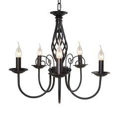 LNC 5-light Chandelier for Kitchen Island ,Restaurant, Dining Room, Living Room, Pendant Lights with Matte Black Finish