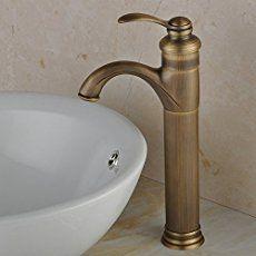 Fuloon Manija Latón Antiguo Baño Grifo del fregadero Clásica Individual grifo
