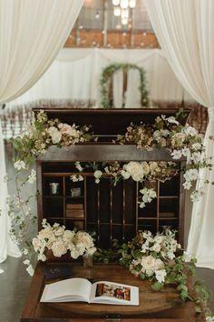 Vintage furniture uses for floral displays | Chantal Andrea Photography, florals from Botanique. | vintageambiance.com #vintagedecor #vintagewedding #floraldisplay