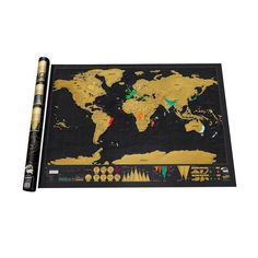 """- Perfect gift for the frequent traveler - Hang it up on the wall for the perfect backdrop - High Quality glossy poster paper with golden foil - 2 sizes to choose from: - Medium: 16.5"""" x 11.7"""" / 42 cm"""