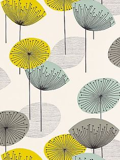 """Sanderson wallpaper - Dandelion Clocks (in blue/green - also available in plum/yellow and red/gray.  hot damn, they're all gorgeous.)"""