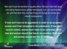 Gender Stereotypes, Free Things, Emma Watson, Compassion, Equality, Ms, Thoughts, Social Equality, Ideas