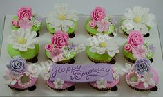 flower themed cupcakes