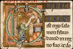 1185-1195, Paris, Bibl. Sainte-Geneviève, ms. 0010, f. 022 - vue 3. Nice fur-detail on the coat.