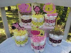 6 Jungle theme mini diaper cakes for GIRL, baby shower centerpiece. $43.00, via Etsy.