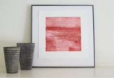 Minimalist Art Print Strata in Red by ElviaPerrin on Etsy,
