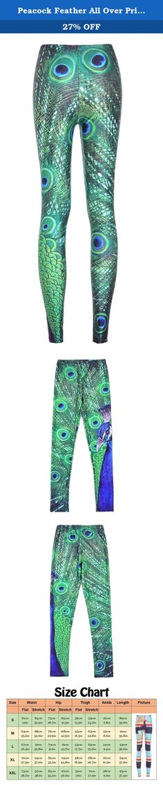 Peacock Feather All Over Print Green Skinny Legging Tight Pants for Women M. Blending art and fashion, the unique placement printing process for our Graphic Legging is one of kind! These leggings are custom made and are truly statement pieces. See our Size Chart in product picture for more information. These leggings are perfect for wearing under a dress or tunic, or just wear them alone as pants. Very soft, stretchy, and extremely comfortable, with diverse standout designs for different...