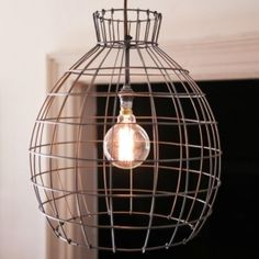 Devika Pendant Light Large - This striking large cage light is made from oxidised steel for that perfect industrial finish. Wire Pendant Light, Pendant Lighting, Steel Cage, Vintage Industrial Lighting, Cage Light, Ceiling Rose, Lights, Interior Lighting, Lighting Ideas