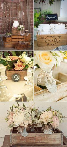 Decoración Vintage para bodas: cajas de madera