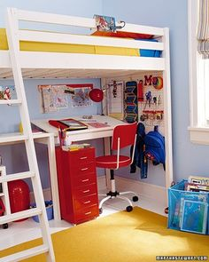 Using a twist on under-bed storage, the area below a store-bought loft bed becomes a welcoming small-scale study. An adjustable desk is made of painted plywood attached to a homemade wooden frame, which was screwed to the bed's base for stability.