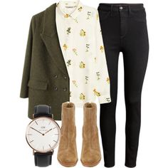 printed blouse, green coat, black skinny jeans, suede booties