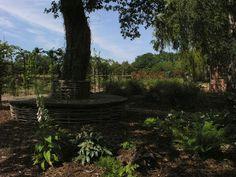 David Keegan Garden Design Picture of bespoke Oak and hazel hurdle tree seat