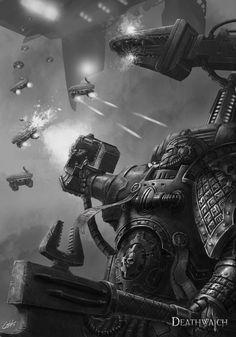 artofjustaman bolt_pistol deathwatch drone imperium mechanicus monochrome space_marines tau techmarine
