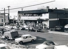 The burnt wreckage of the Whiskey Au Go Go nightclub in Brisbane in March 1973, in which 15 people died.
