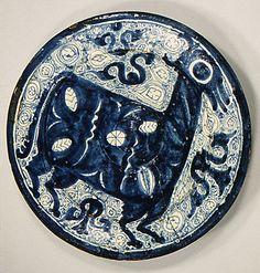 Plate; Aragon, Spain, tin enameled earthenware, 16th century