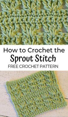 Sprout Stitch: FREE Crochet Stitch Pattern How to crochet the sprout stitch—a free spring crochet stitch pattern! Learn this pretty crochet shell stitch. Crochet Stitches For Blankets, Crochet Stitches Free, Bag Crochet, Crochet Shell Stitch, Tunisian Crochet, Knitting Stitches, Crochet Crafts, Crochet Projects, Free Crochet