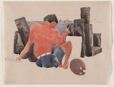 The Artist on the Beach at Provincetown, Watercolour by Charles Demuth (1883-1935)
