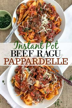 Fall Apart Tender, Shredded Beef In A Rich, Fire-Roasted Tomato Sauce That Is Tossed With Pappardelle Pasta And Topped With Freshly Grated Parmesan Cheese. The Ultimate Comfort Dish Made Easily In Your Instant Pot Beef Ragu Recipe, Italian Pot Roast, Italian Beef, Beef Recipes, Cooking Recipes, Recipies, Roasted Tomato Sauce, Roasted Tomatoes, Pork Ragu