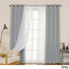Shop for Aurora Home MIX & MATCH CURTAINS Blackout and Muji Sheer 84 inch Silver Grommet 4 piece Curtain Panel Pair 52 x Get free delivery at Overstock Your Online Home Decor Outlet Store! Get in rewards with Club O! Home Curtains, Curtains Living, Grommet Curtains, Blackout Curtains, Panel Curtains, Curtain Panels, Curtains With Sheers, Purple Curtains, Double Curtains