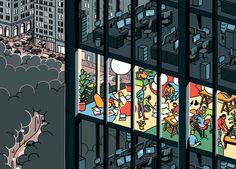 Ilustraciones de un voyerista que lo ve todo desde la ventana.