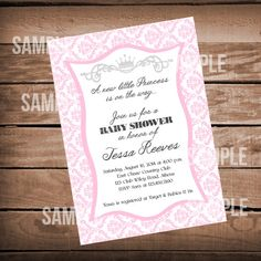 Printable purple and silver princess baby shower invitation shower pink damask princess baby shower invitation on etsy 1000 filmwisefo