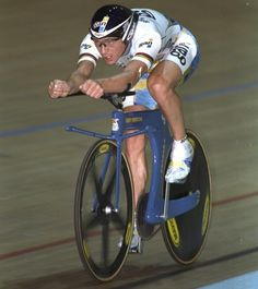 Chris Boardman sets a new Hour record of 56.376km in Manchester, England in 1996. Photograph: Gary M. Prior