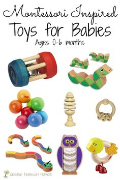 Montessori inspired baby toys for ages 0-6 months old.