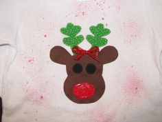 Christmas shirt with Rudolph applique by NanasCraftyCreations, $17.50