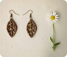 Leaf earrings - long dangle earrings - laser cut wooden jewelry.