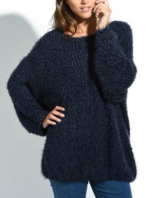 des si belles Navy Blue Oversize Frayed Sweater - Plus Too by des si belles #zulily #zulilyfinds