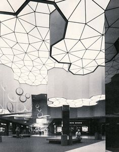 sunrise mall, sacramento, 1973. Apparently the seedy mall I grew up around used to be beautiful. This ceiling is no longer there unfortunately.
