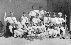 Men from the Mohawk Nation at Kahnawake (Caughnawaga) who were the Canadian lacrosse champions in 1869 / Des hommes de la nation mohawk à Kahnawake (Caughnawaga), les champions de la crosse au Canada en 1869 Native American History, Native American Indians, Mohawk People, Mohawk Indians, La Crosse, Champions, Olympians, First Nations, Indiana