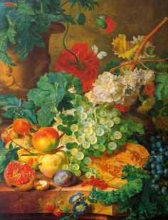 Hand painted oil painting reproduction on canvas of Fruit Still Life by artist Jan van Huysum as gift or decoration by customer order. Dutch Still Life, Still Life Art, Grenade, Carthage, Dutch Painters, Pictures To Paint, Painting Pictures, Photo Wallpaper, Botanical Art