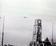 A church in Rotterdam, the Netherlands. Planes leaving the area.