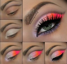 Tutoriel de Maquillage : Neon Color Eye make-up Pretty Makeup, Love Makeup, Makeup Inspo, Makeup Art, Makeup Inspiration, Makeup Tips, Beauty Makeup, Makeup Looks, Makeup Ideas