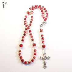 Red and Tan - Rosary Necklace Beaded Chain - Wedding nacklaces (*Amazon Partner-Link)