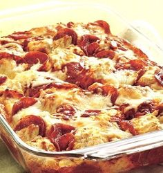 Recipe For 4-Ingredient Pizza Bake - You'll make quick work out of a pizza bake that's in the oven in less than 15 minutes that the whole family can enjoy!!