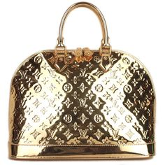 Pre-owned Louis Vuitton Satchel featuring polyvore fashion bags handbags apparel & accessories gold satchels wallets & cases pre owned handbags satchel purse louis vuitton satchel white satchel gold purse